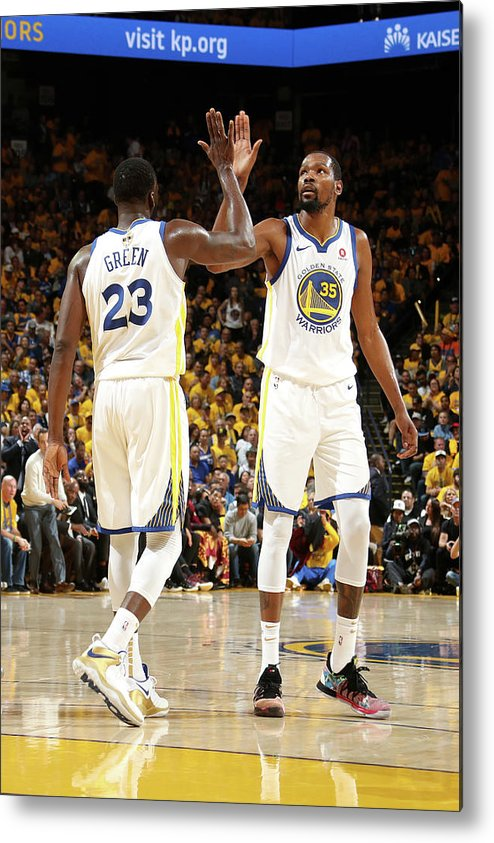 Playoffs Metal Print featuring the photograph Draymond Green and Kevin Durant by Nathaniel S. Butler