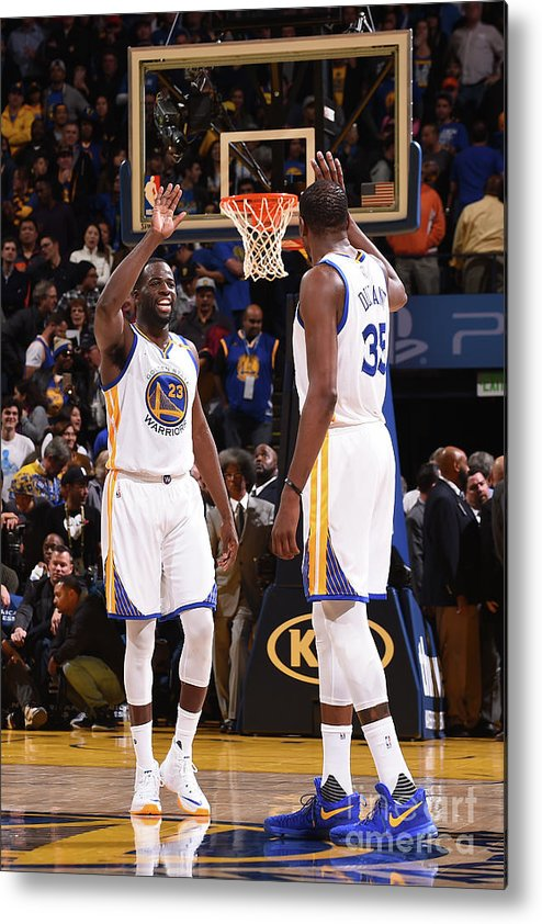 Nba Pro Basketball Metal Print featuring the photograph Draymond Green and Kevin Durant by Noah Graham