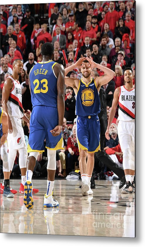 Nba Pro Basketball Metal Print featuring the photograph Draymond Green and Klay Thompson by Andrew D. Bernstein