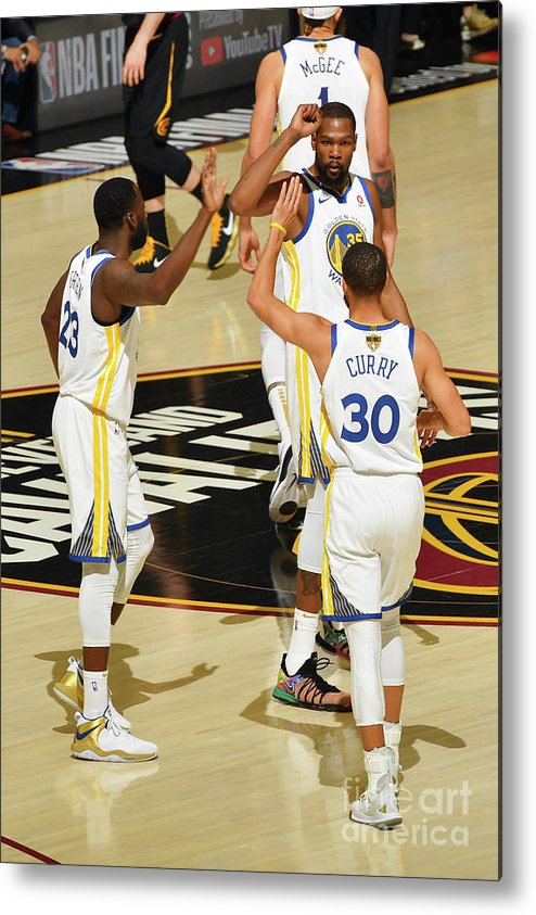 Playoffs Metal Print featuring the photograph Draymond Green, Stephen Curry, and Kevin Durant by Jesse D. Garrabrant