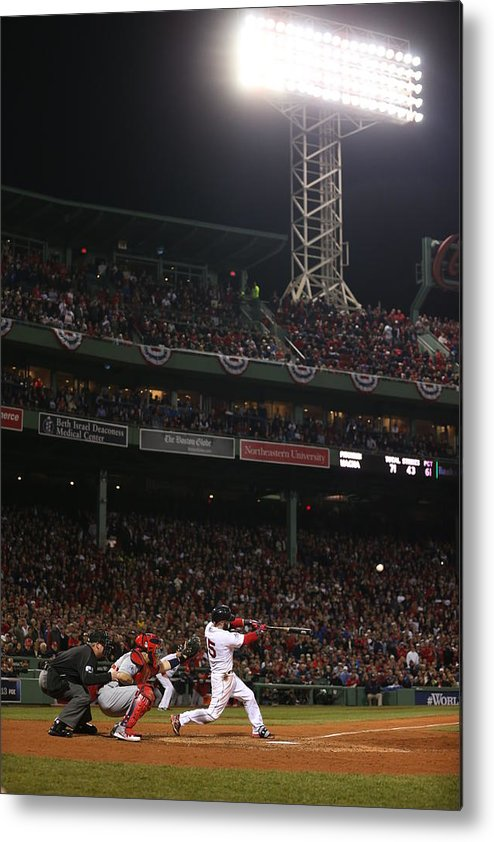 Playoffs Metal Print featuring the photograph Dustin Pedroia by Brad Mangin
