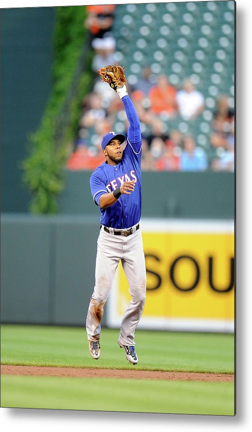 Second Inning Metal Print featuring the photograph Elvis Andrus and Ryan Flaherty by Greg Fiume
