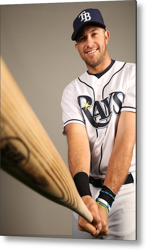 Media Day Metal Print featuring the photograph Evan Longoria by Robbie Rogers