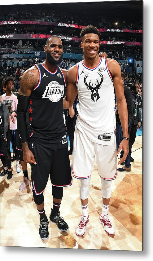 Nba Pro Basketball Metal Print featuring the photograph Giannis Antetokounmpo and Lebron James by Andrew D. Bernstein