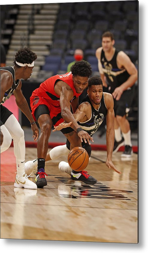Nba Pro Basketball Metal Print featuring the photograph Giannis Antetokounmpo and Stanley Johnson by Scott Audette