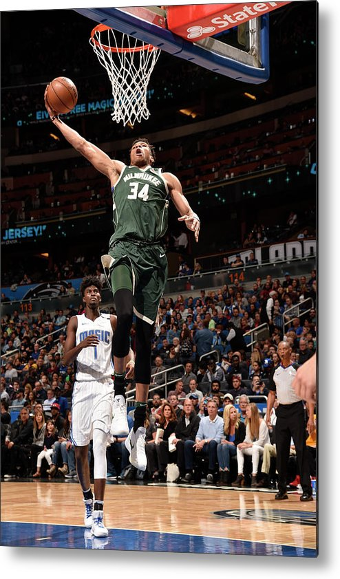 Nba Pro Basketball Metal Print featuring the photograph Giannis Antetokounmpo by Gary Bassing