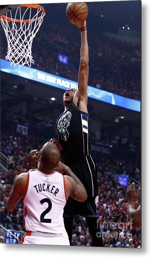 Playoffs Metal Print featuring the photograph Giannis Antetokounmpo by Mark Blinch