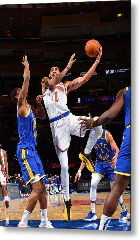 Nba Pro Basketball Metal Print featuring the photograph Golden State Warriors v New York Knicks by Jesse D. Garrabrant