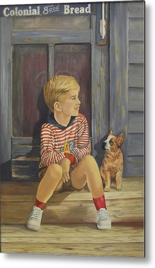 A Young Boy And His Dog Metal Print featuring the painting Grandpas Country Store by Wanda Dansereau