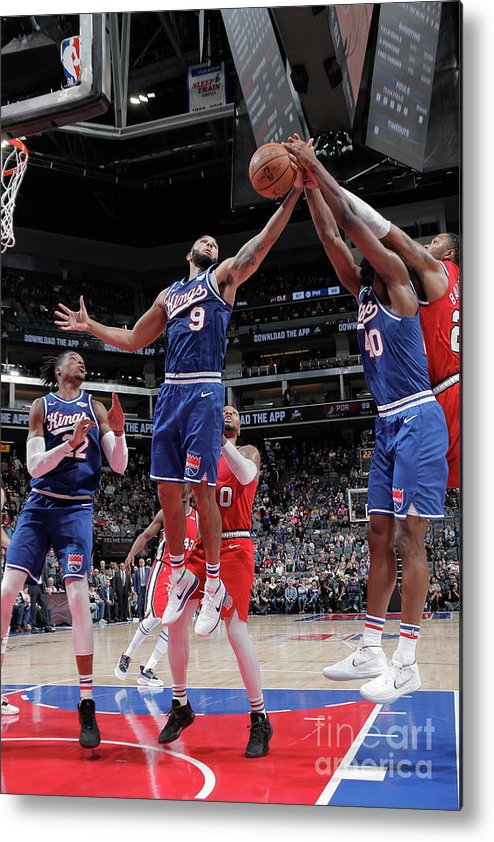 Nba Pro Basketball Metal Print featuring the photograph Harrison Barnes and Cory Joseph by Rocky Widner