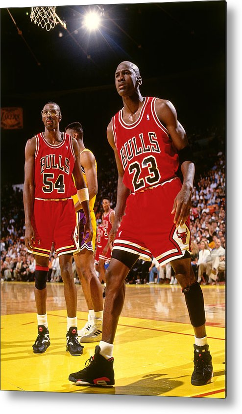 Chicago Bulls Metal Print featuring the photograph Horace Grant and Michael Jordan by Andrew D. Bernstein