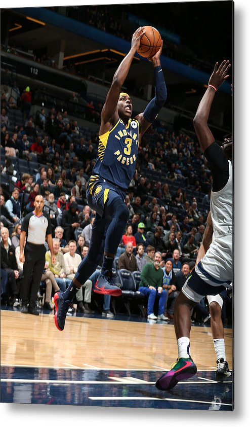 Nba Pro Basketball Metal Print featuring the photograph Indiana Pacers v Minnesota Timberwolves by David Sherman