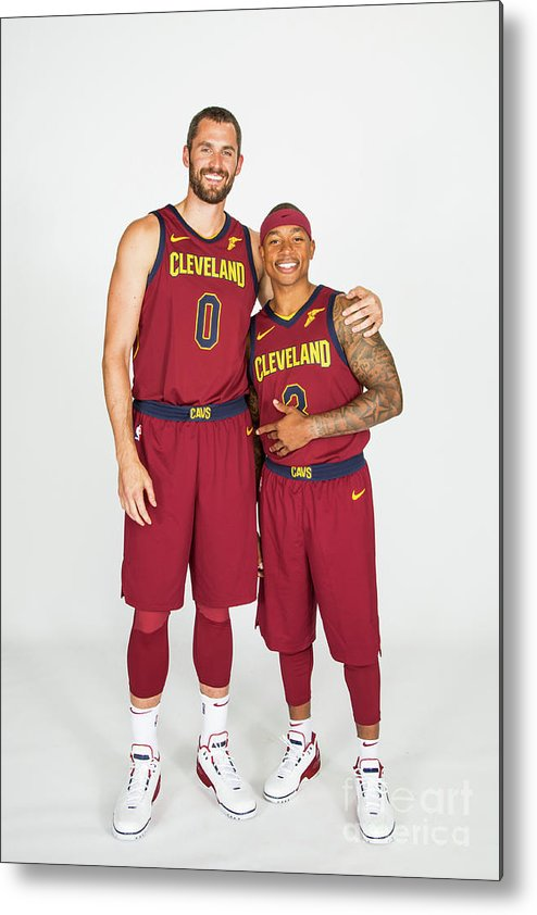 Media Day Metal Print featuring the photograph Isaiah Thomas and Kevin Love by Michael J. Lebrecht Ii