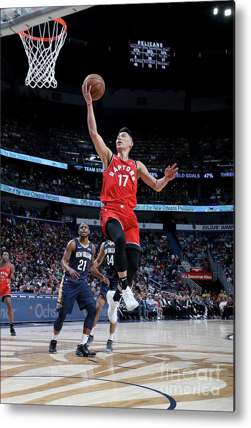 Smoothie King Center Metal Print featuring the photograph Jeremy Lin by Layne Murdoch Jr.