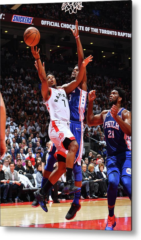 Playoffs Metal Print featuring the photograph Jimmy Butler and Kyle Lowry by Jesse D. Garrabrant