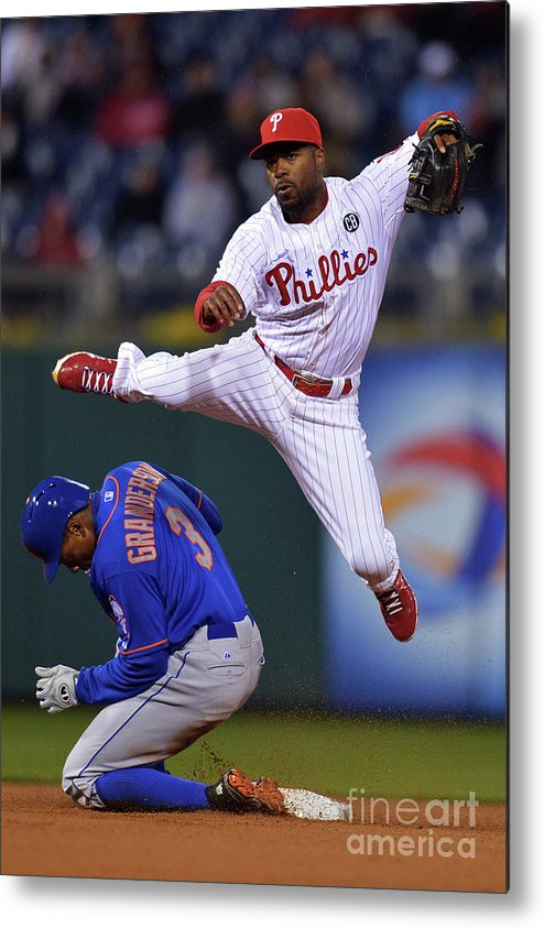 Double Play Metal Print featuring the photograph Jimmy Rollins and Curtis Granderson by Drew Hallowell