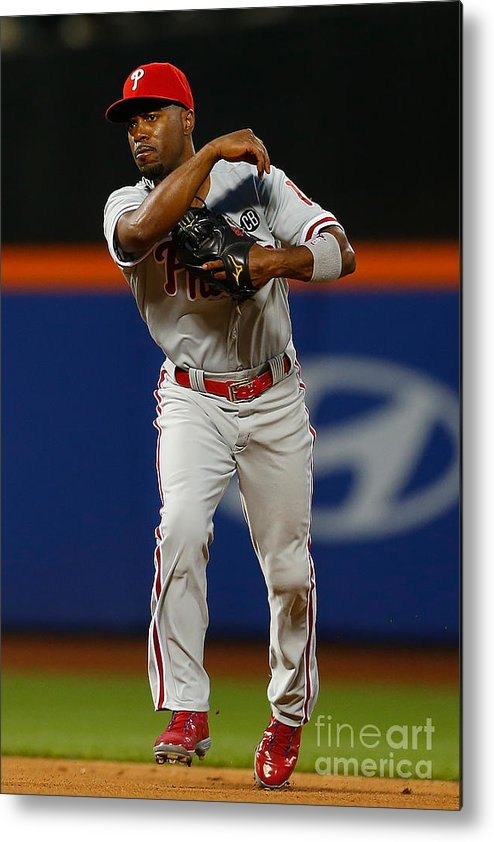 American League Baseball Metal Print featuring the photograph Jimmy Rollins by Mike Stobe