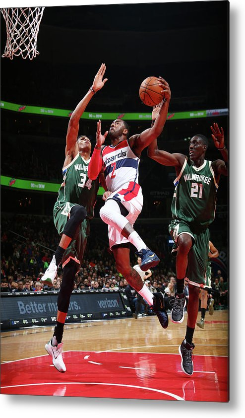 Nba Pro Basketball Metal Print featuring the photograph John Wall and Giannis Antetokounmpo by Ned Dishman