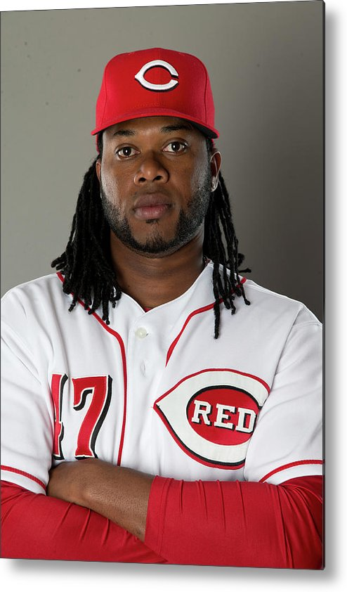 American League Baseball Metal Print featuring the photograph Johnny Cueto by Mike Mcginnis