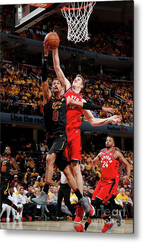 Playoffs Metal Print featuring the photograph Jordan Clarkson and Jakob Poeltl by Jeff Haynes
