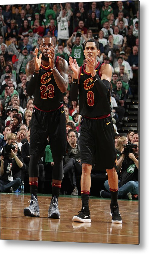 Nba Pro Basketball Metal Print featuring the photograph Jordan Clarkson and Lebron James by Nathaniel S. Butler