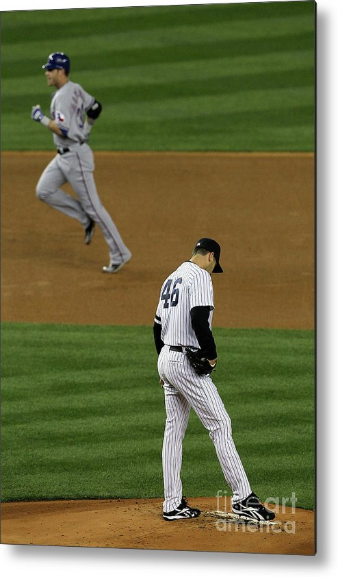Playoffs Metal Print featuring the photograph Josh Hamilton and Andy Pettitte by Jim Mcisaac