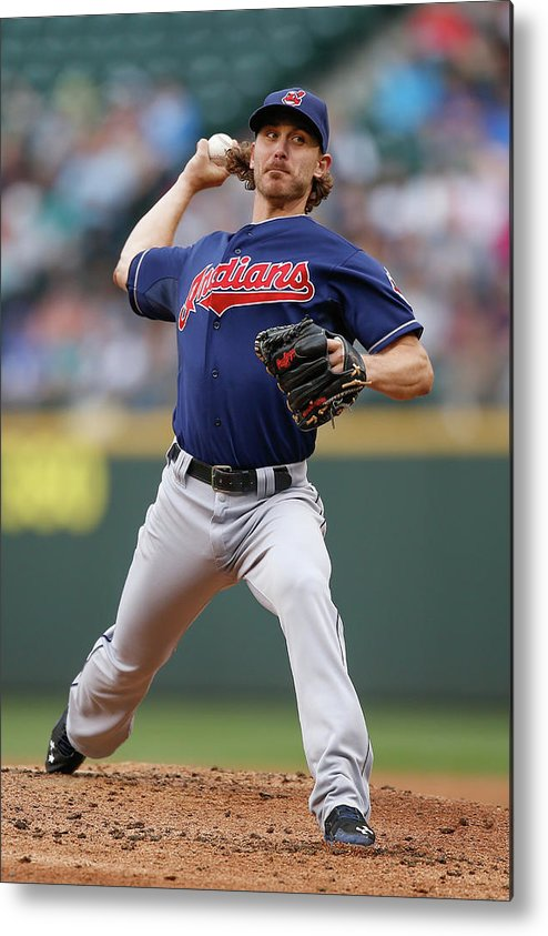 American League Baseball Metal Print featuring the photograph Josh Tomlin by Otto Greule Jr