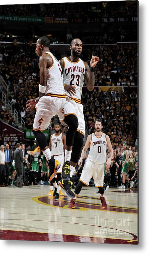 Playoffs Metal Print featuring the photograph J.r. Smith and Lebron James by David Liam Kyle