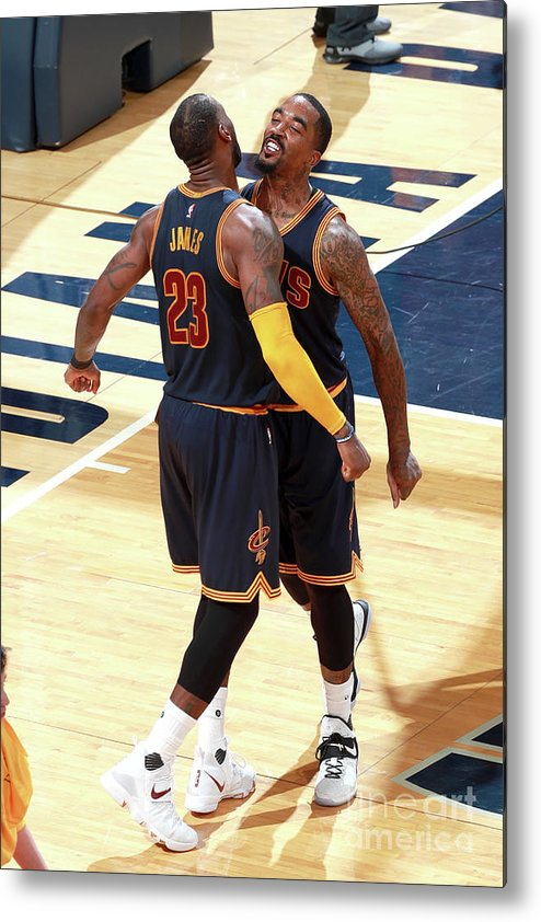 Playoffs Metal Print featuring the photograph J.r. Smith and Lebron James by Jeff Haynes
