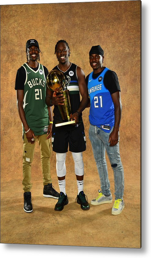Playoffs Metal Print featuring the photograph Jrue Holiday and Justin Holiday by Jesse D. Garrabrant