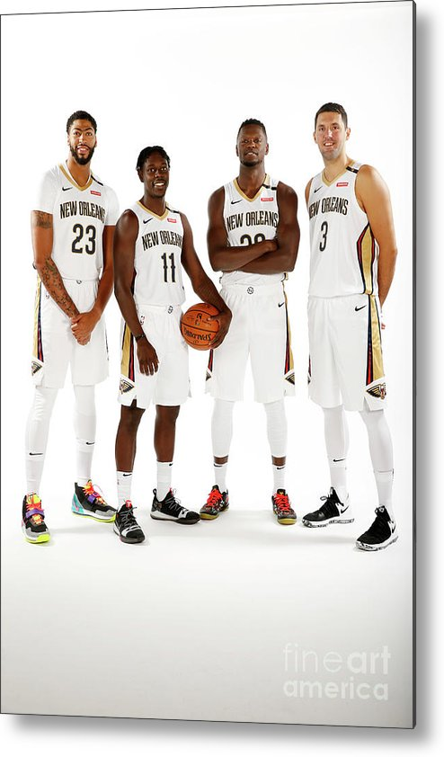 Media Day Metal Print featuring the photograph Jrue Holiday, Anthony Davis, and Julius Randle by Jonathan Bachman