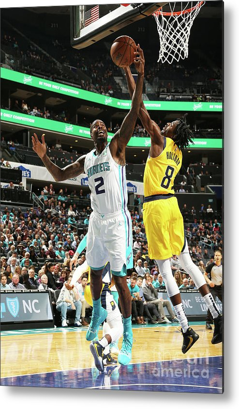 Nba Pro Basketball Metal Print featuring the photograph Justin Holiday and Marvin Williams by Kent Smith