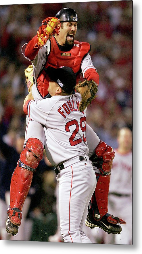 Celebration Metal Print featuring the photograph Keith Foulke and Jason Varitek by Jed Jacobsohn