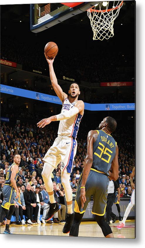Nba Pro Basketball Metal Print featuring the photograph Kevin Durant and Ben Simmons by Noah Graham