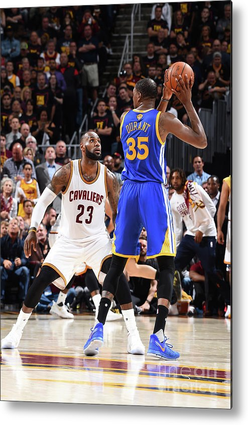 Playoffs Metal Print featuring the photograph Kevin Durant and Lebron James by Andrew D. Bernstein