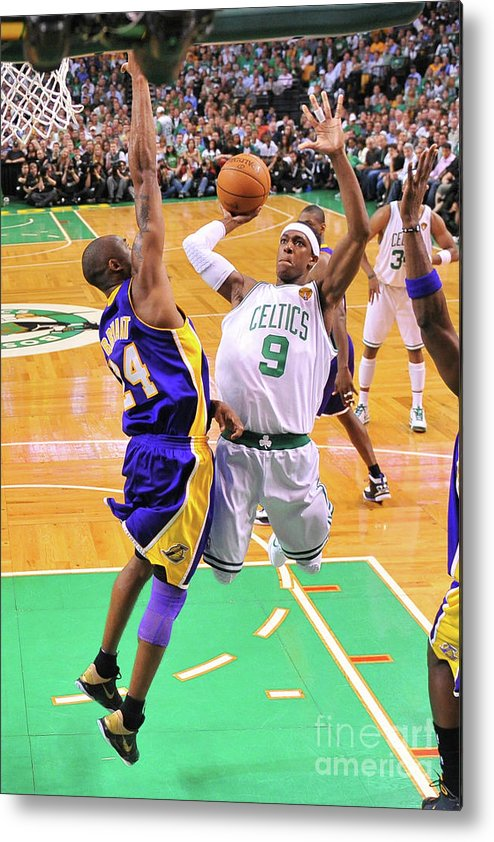 Playoffs Metal Print featuring the photograph Kobe Bryant and Rajon Rondo by Brian Babineau