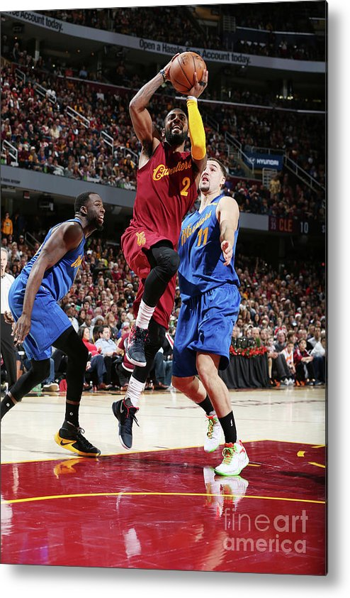 Nba Pro Basketball Metal Print featuring the photograph Kyrie Irving and Klay Thompson by David Sherman