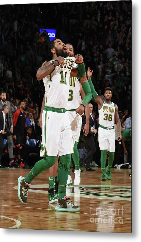Nba Pro Basketball Metal Print featuring the photograph Kyrie Irving and Marcus Morris by Brian Babineau