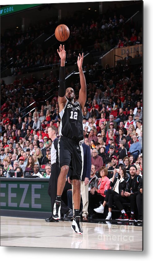 Nba Pro Basketball Metal Print featuring the photograph Lamarcus Aldridge and Jakob Poeltl by Sam Forencich
