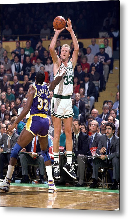1980-1989 Metal Print featuring the photograph Larry Bird and Magic Johnson by Andrew D. Bernstein