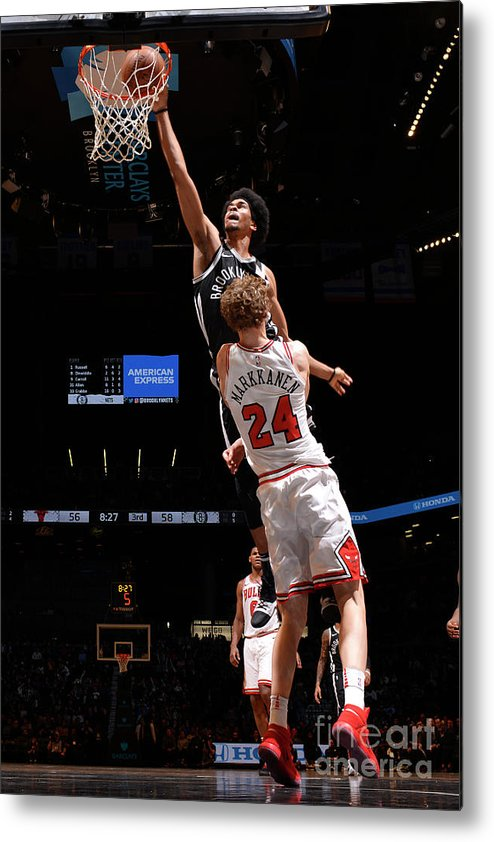 Chicago Bulls Metal Print featuring the photograph Lauri Markkanen, Jarrett Allen, and Drazen Petrovic by Jesse D. Garrabrant