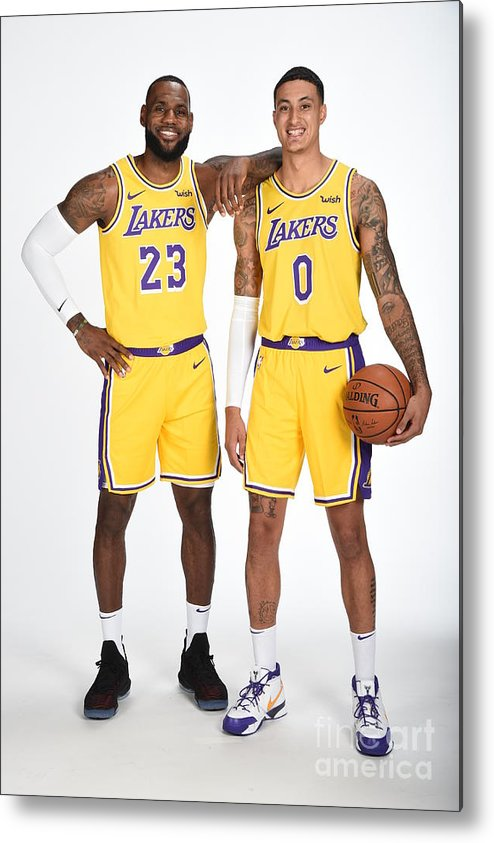 Media Day Metal Print featuring the photograph Lebron James and Kyle Kuzma by Andrew D. Bernstein