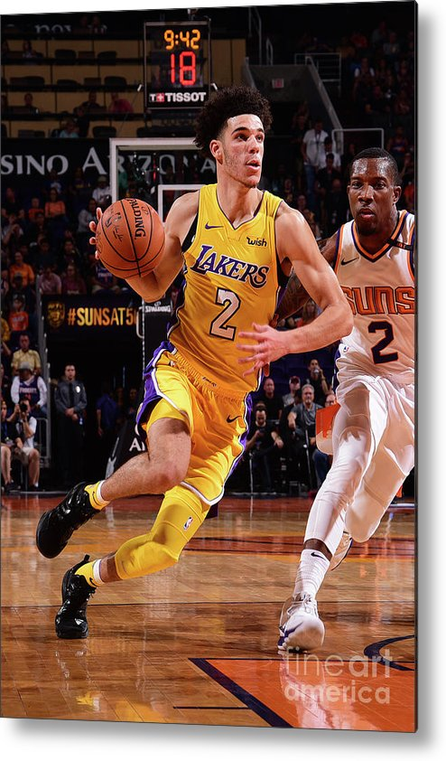 Nba Pro Basketball Metal Print featuring the photograph Lonzo Ball by Michael Gonzales