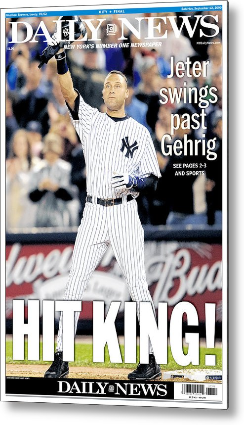 American League Baseball Metal Print featuring the photograph Lou Gehrig and Derek Jeter by New York Daily News Archive