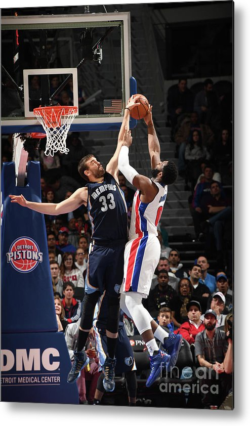 Nba Pro Basketball Metal Print featuring the photograph Marc Gasol and Andre Drummond by Chris Schwegler