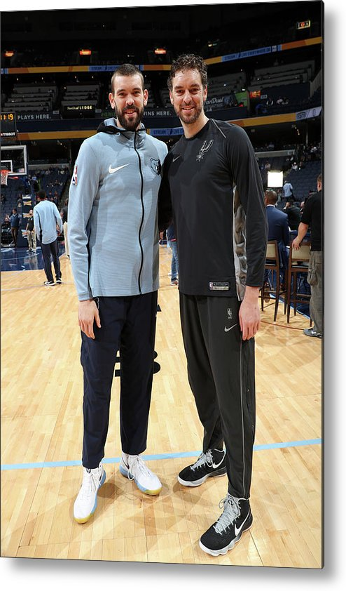 Nba Pro Basketball Metal Print featuring the photograph Marc Gasol and Pau Gasol by Joe Murphy