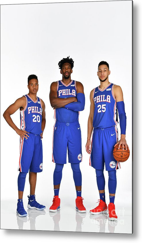 Media Day Metal Print featuring the photograph Markelle Fultz, Ben Simmons, and Joel Embiid by Jesse D. Garrabrant