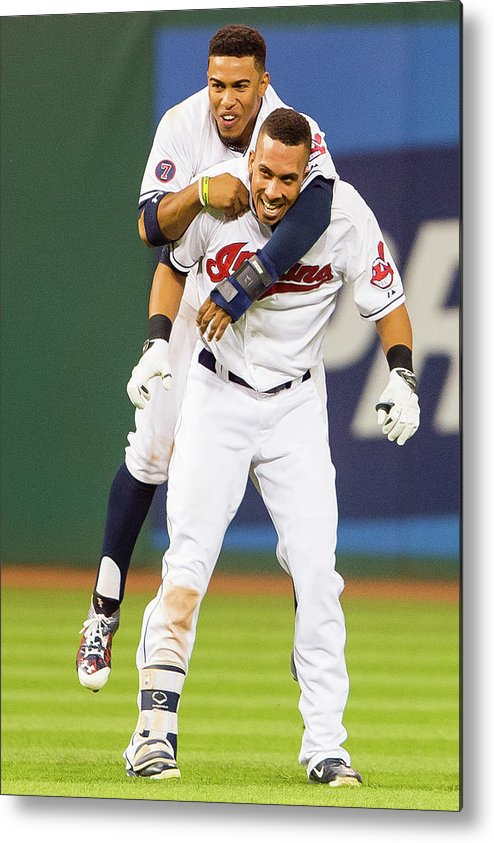 People Metal Print featuring the photograph Michael Brantley and Francisco Lindor by Jason Miller