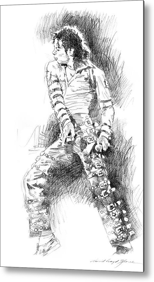 Michael Jackson Metal Print featuring the drawing Michael Jackson - Onstage by David Lloyd Glover