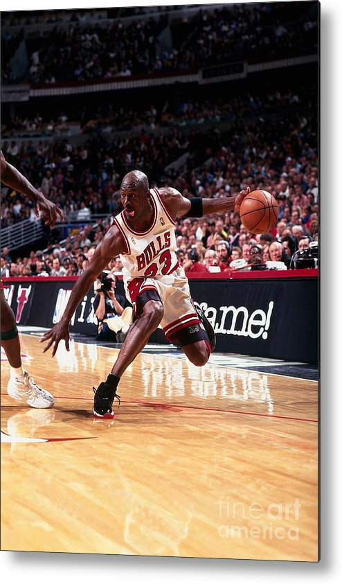Chicago Bulls Metal Print featuring the photograph Michael Jordan by Barry Gossage